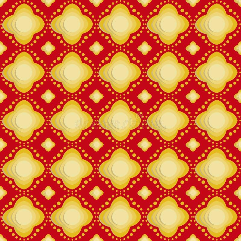 Złocisty kwiat na czerwonego tła bezszwowych wzorach royalty ilustracja