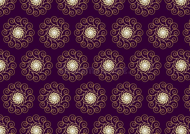 Złocisty kwiatu i zawijasa wzór na Ciemnym Purpurowym tle royalty ilustracja