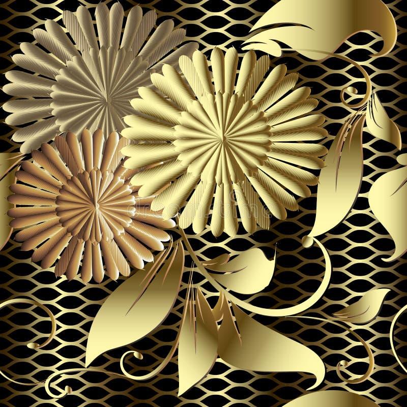 Złocisty kwiecisty 3d wektorowy bezszwowy wzór Textured siatki kratownicy b royalty ilustracja