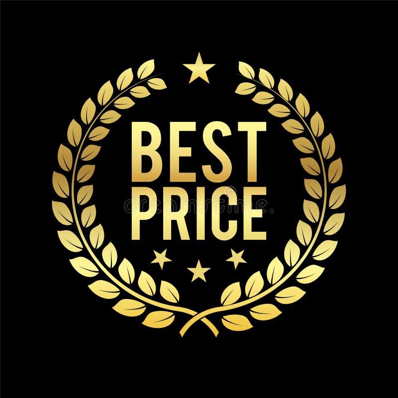 Złocisty Laurowy wianek Najlepszy ceny nagroda Złoty odznaka projekta element dla sprzedaży, sprzedaje detalicznie temat Biznesow royalty ilustracja