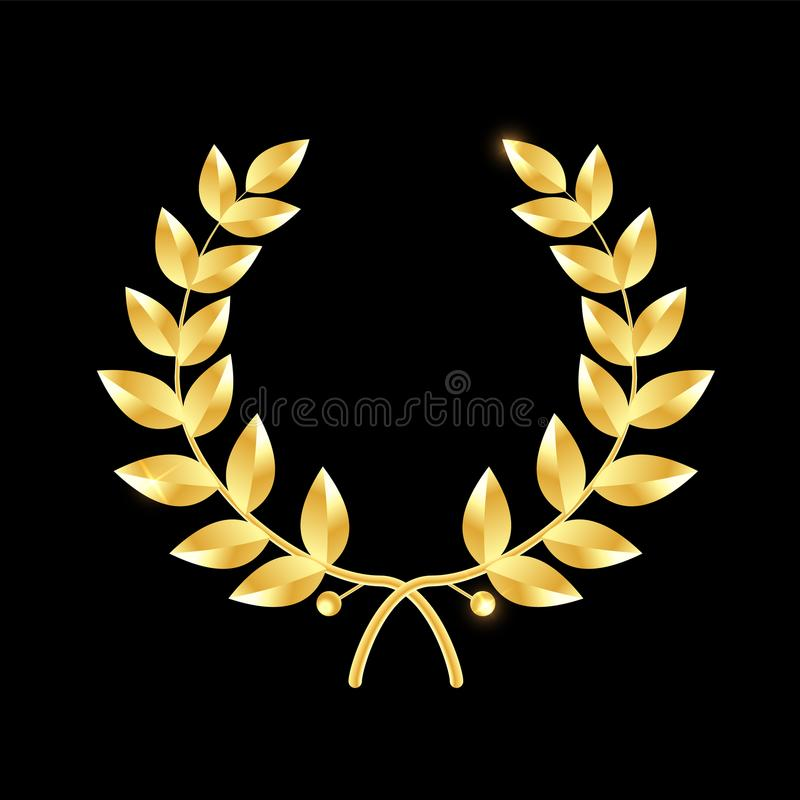 Złocisty Laurowy wianek Symbol zwycięstwo i osiągnięcie Projektuje element dla dekoraci medal, nagroda, żakiet ręki lub ilustracji