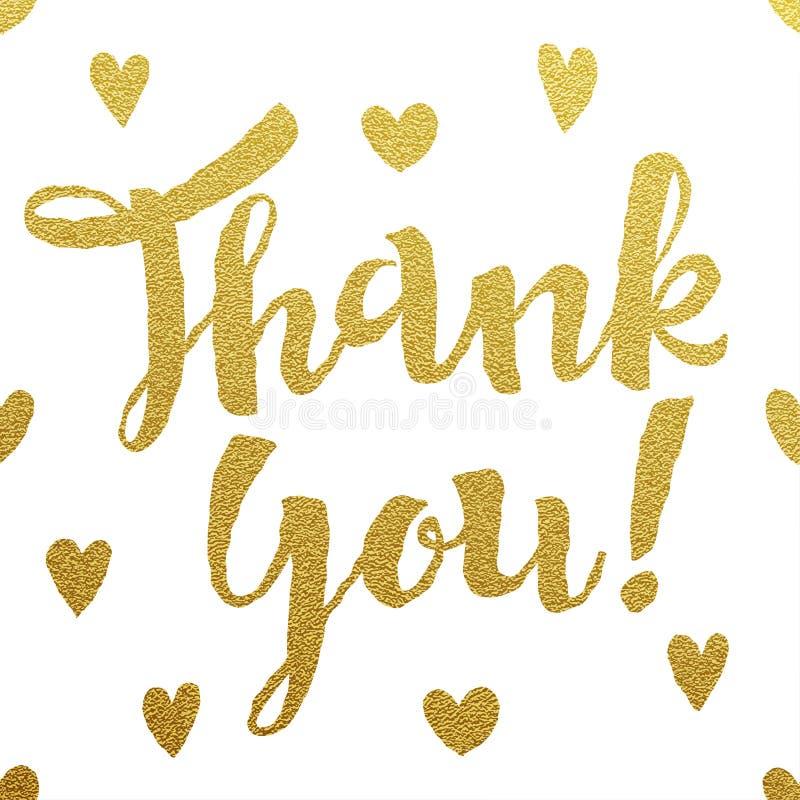 Złocisty literowanie projekt dla karty Dziękuje Ciebie royalty ilustracja