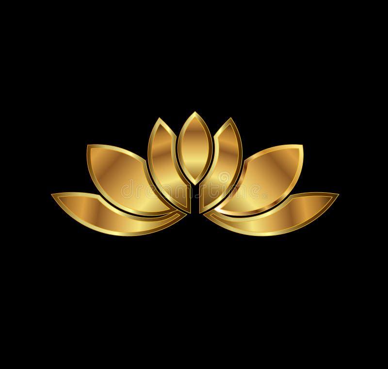 Złocisty Lotosowej rośliny wizerunku logo
