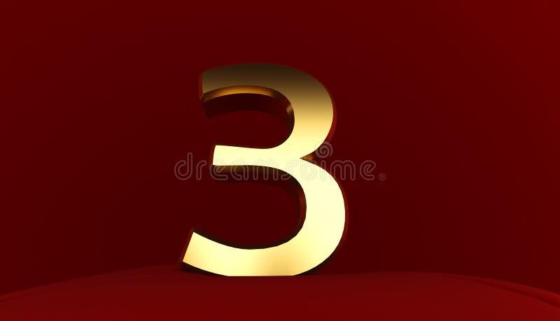 Złocisty metal liczba trzy, 3D tekst royalty ilustracja