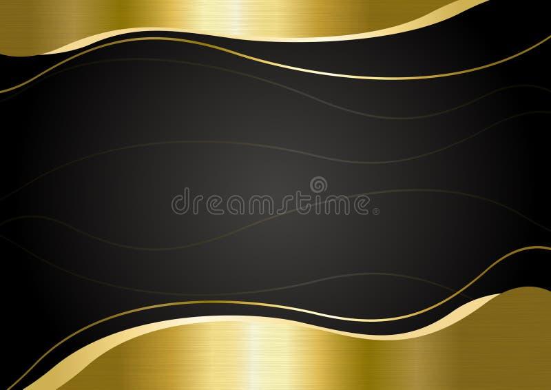 Złocisty metalu sztandar na czarnej tło wektoru ilustracji royalty ilustracja