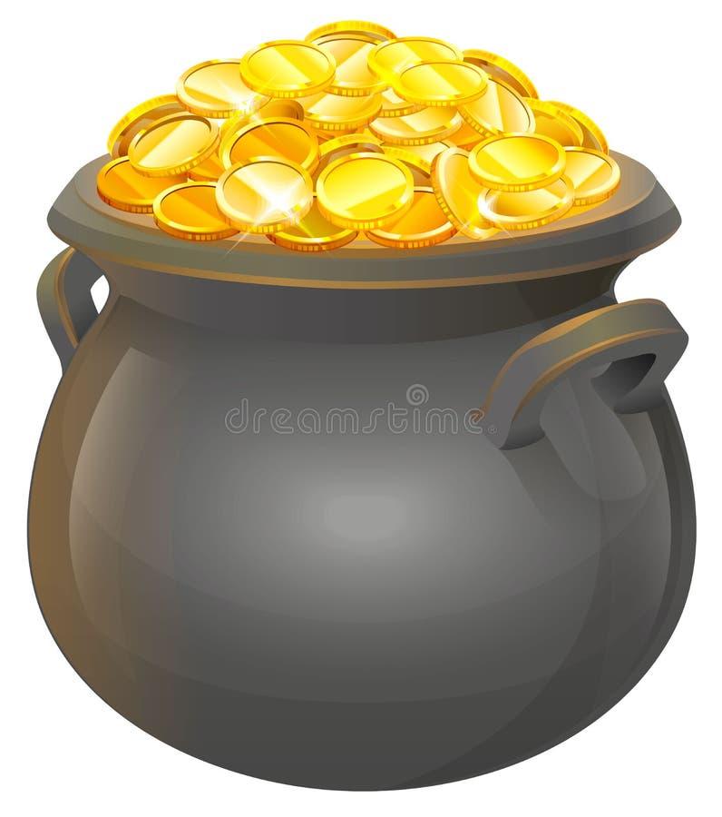 złocisty moneta garnek Pełny kocioł złoto ilustracji
