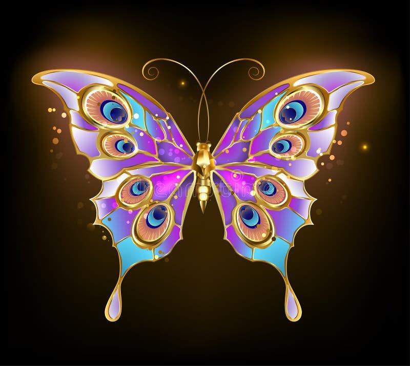 Złocisty motyli paw ilustracji
