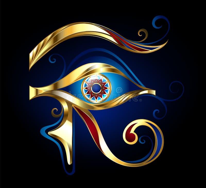 Złocisty oko Horus na czarnym tle ilustracja wektor