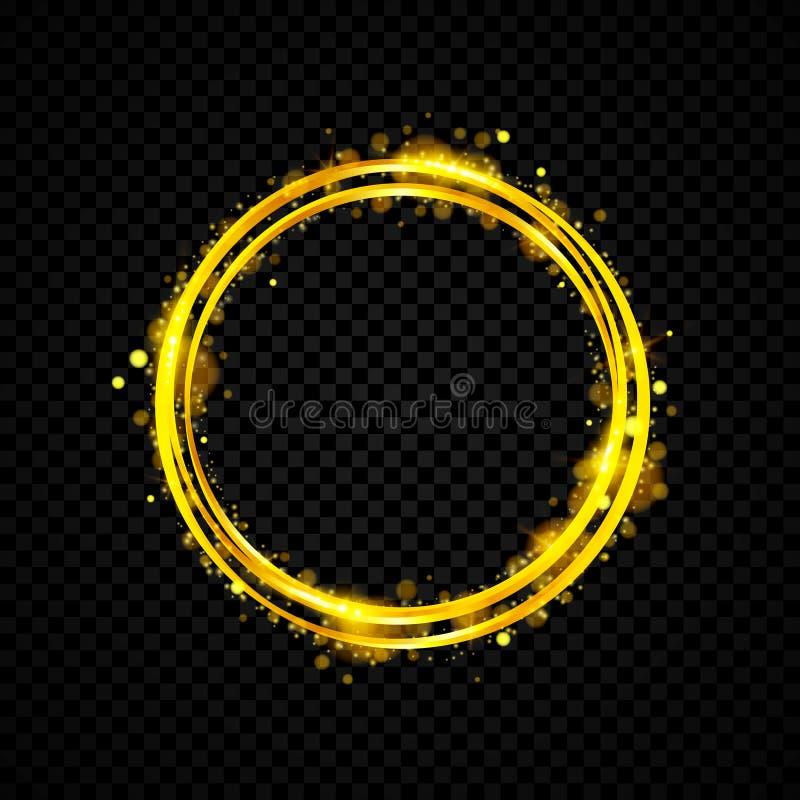 Złocisty olśniewający round sztandar złoty krąg Światło skutki Błyskotanie pierścionku rama również zwrócić corel ilustracji wekt ilustracja wektor