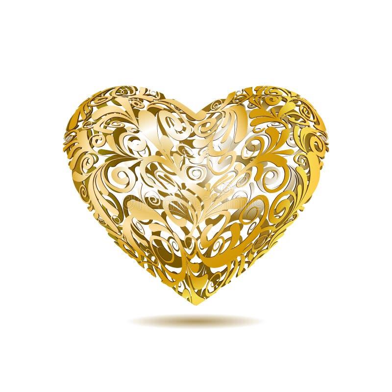 Złocisty Openwork Kwiecisty serce royalty ilustracja