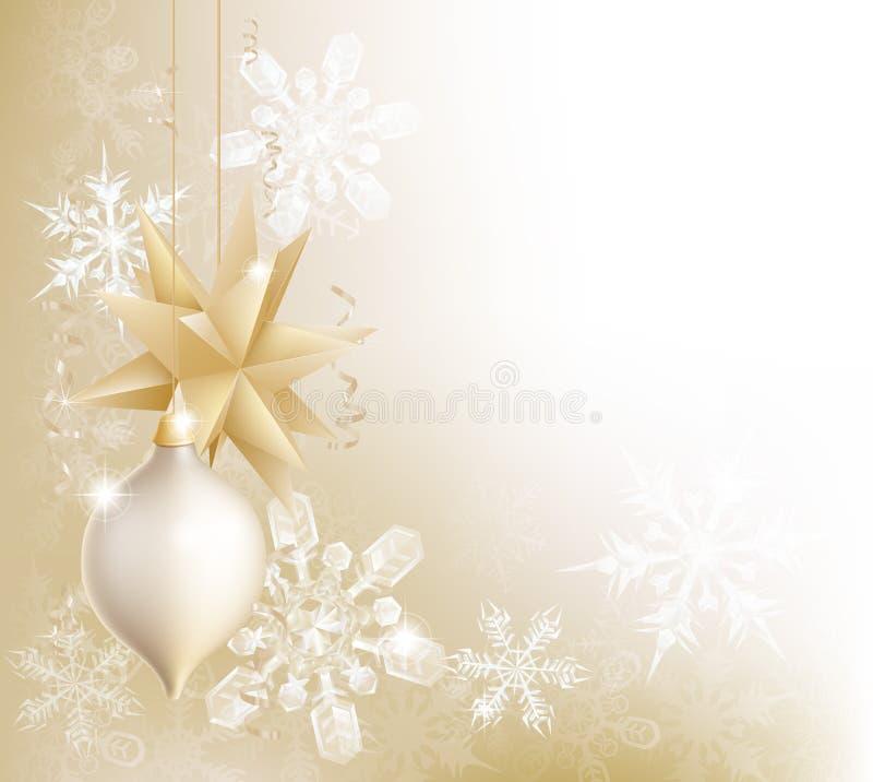 Złocisty płatek śniegu i Bożego Narodzenia bauble tło ilustracja wektor