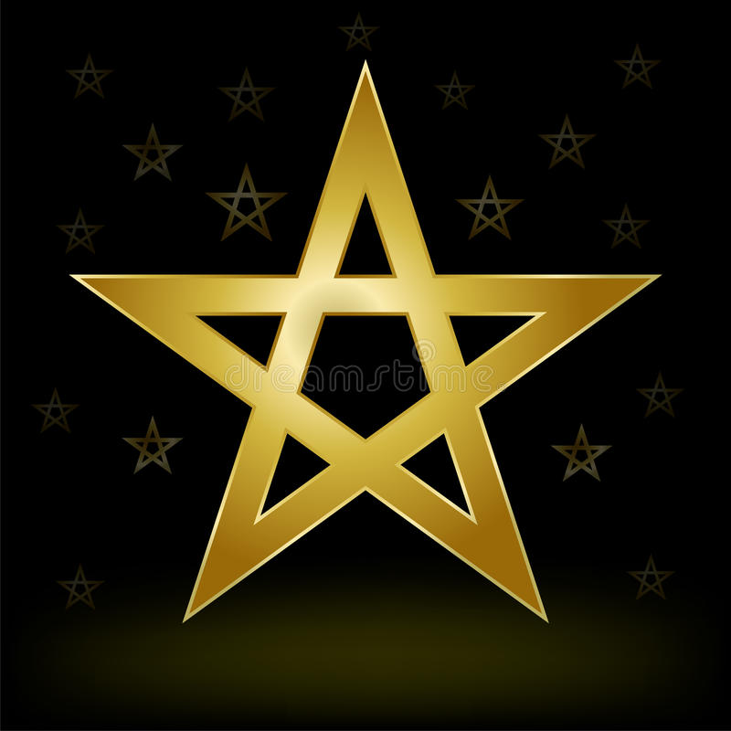 Złocisty pentagram ilustracja wektor