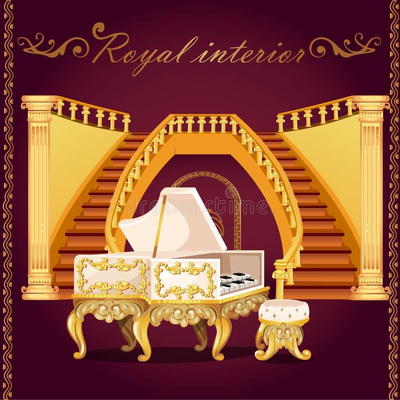 Złocisty pianino i Uroczysty schody z kolumnami ilustracja wektor