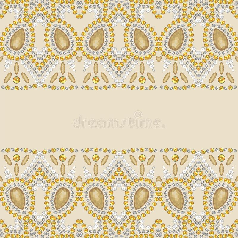 Złocisty połysk mody wzór od genialnych kamieni, rhinestones ilustracji