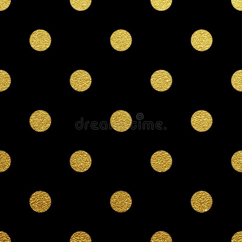 Złocisty polki kropki bezszwowy wzór na czarnym tle ilustracji