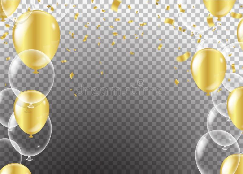 Złocisty przejrzysty balon na tle szybko się zwiększać, wektorowy illustra royalty ilustracja