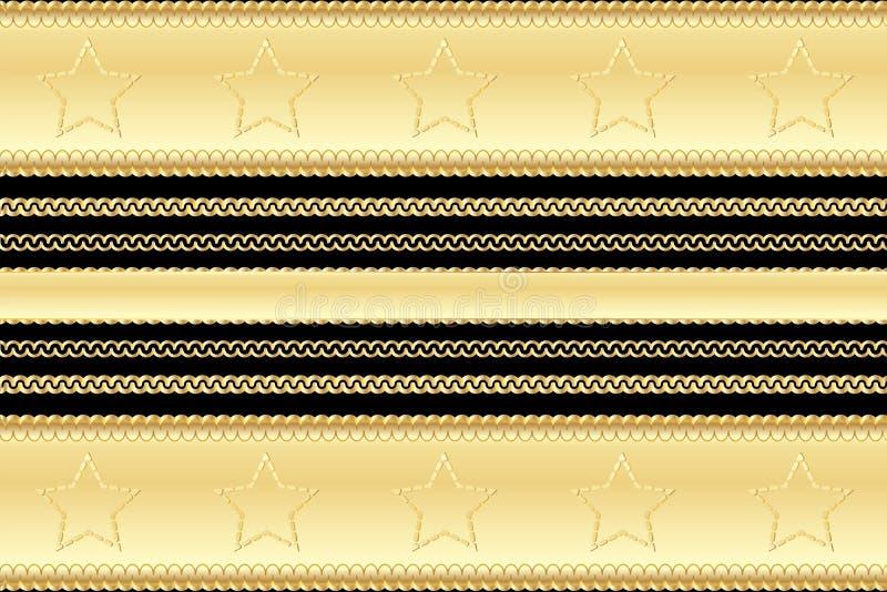 Złocisty rocznika wzór i rama elementów kasyno projektujemy z gwiazdami i zawijasami na czarnym tle ilustracja wektor