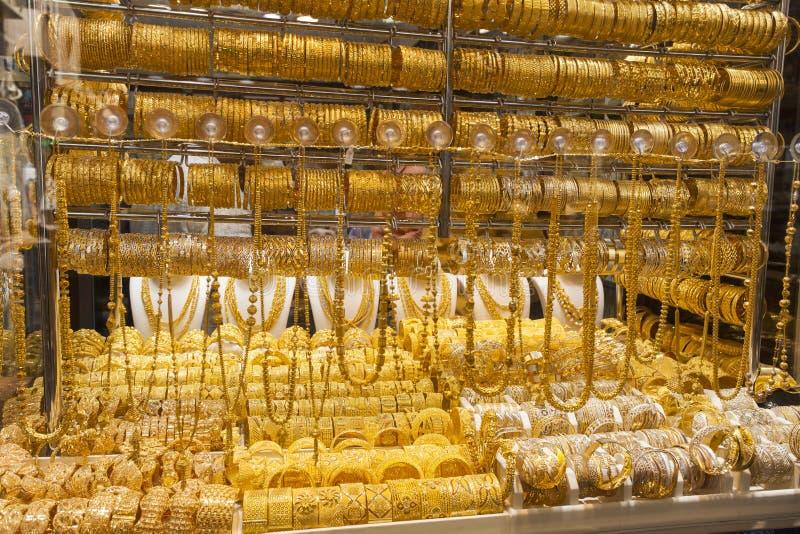 Złocisty rynek w Dubaj mieście lub souk, Deira emiraty arabskie united fotografia stock