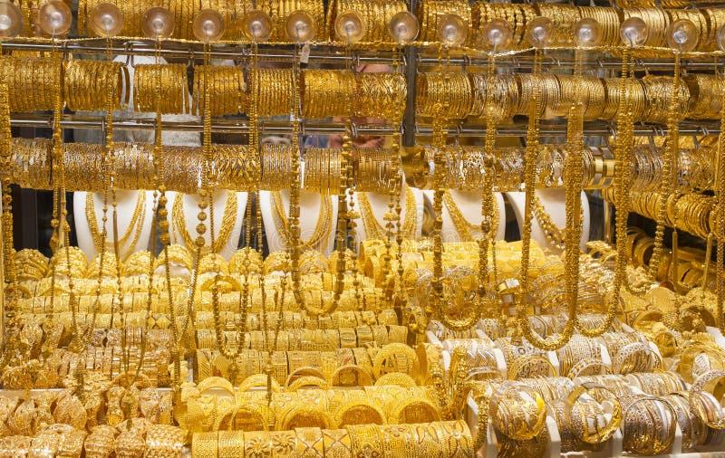 Złocisty rynek w Dubaj mieście lub souk, Deira emiraty arabskie united zdjęcie stock