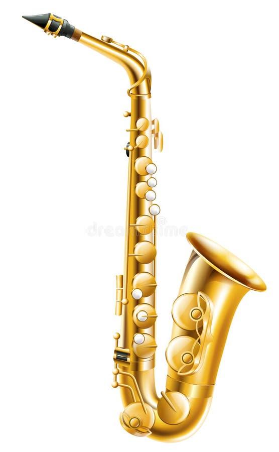 Złocisty saksofon royalty ilustracja