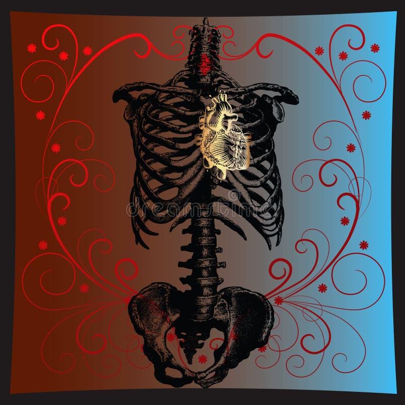 złocisty serce royalty ilustracja