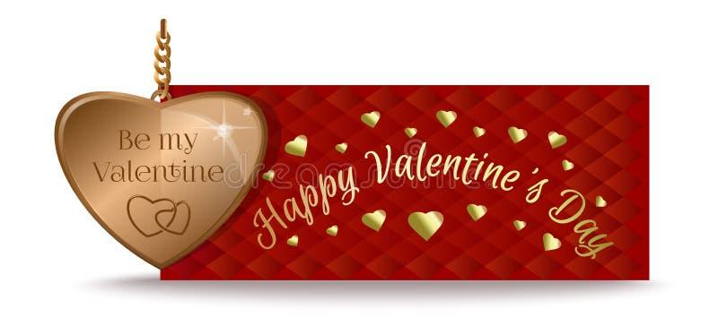 Złocisty serce i inskrypcja Walentynka dnia projekt ilustracja wektor