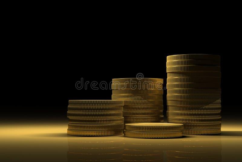 Złocisty skarb z pieniądze stertami ilustracji