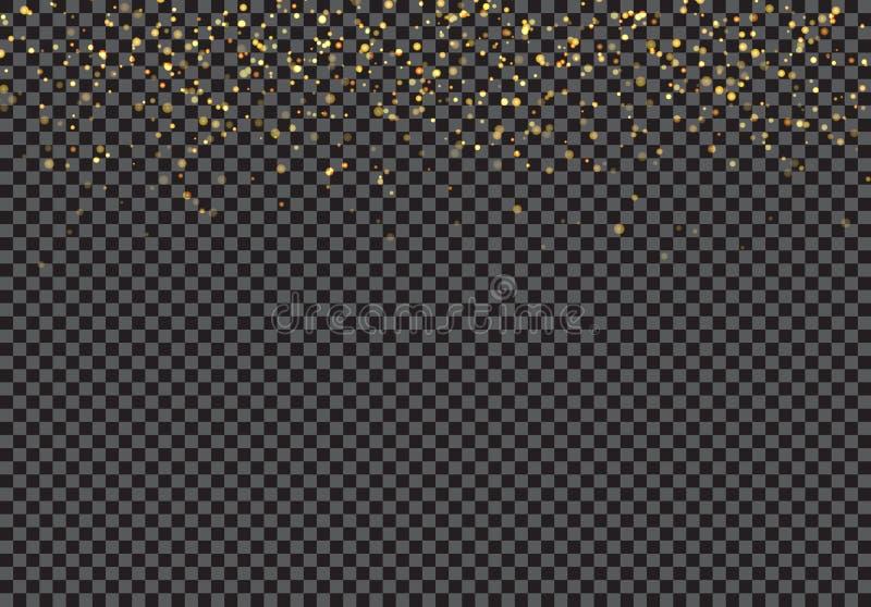 Złocisty spada błyskotliwość cząsteczek skutek na przejrzystym tle ilustracji