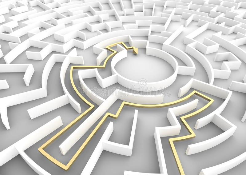 Złocisty strzałkowaty iść przez labiryntu pokazuje rozwiązanie Strategii Biznesowych pojęcia ilustracji