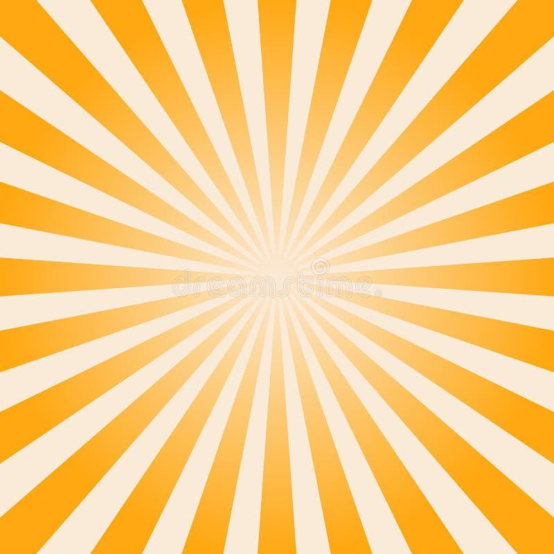 Złocisty sunburst tło, kolor żółty gwiazdy lampasy ilustracja wektor