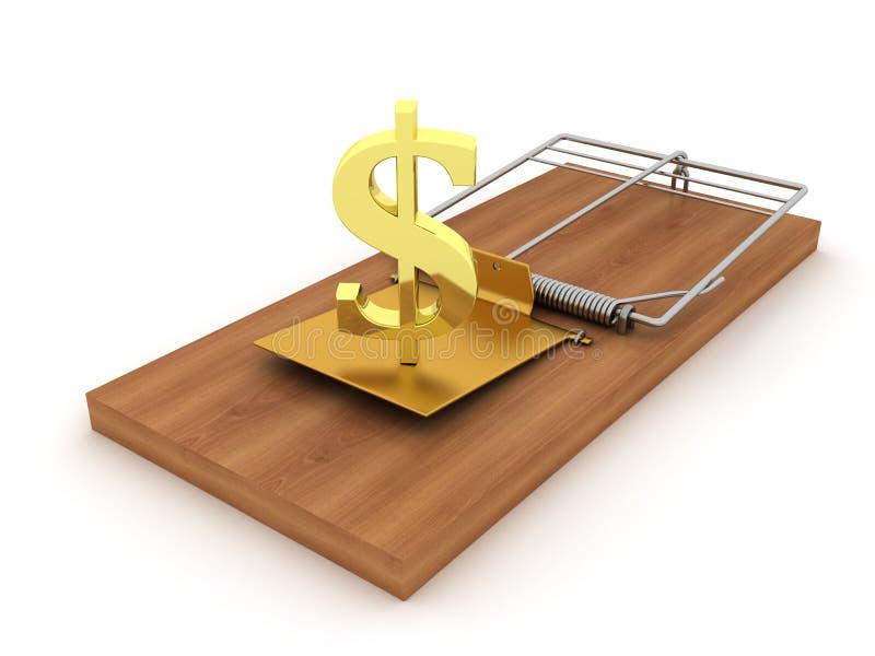 Złocisty symbol dolar łapać w pułapkę ilustracji