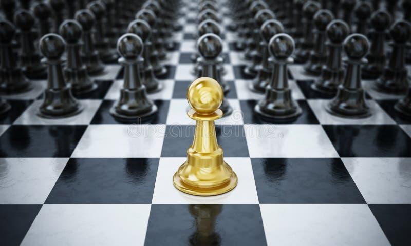 Złocisty szachowy zastawniczy standingin przód czarni szachowi kawałki ilustracja 3 d ilustracja wektor