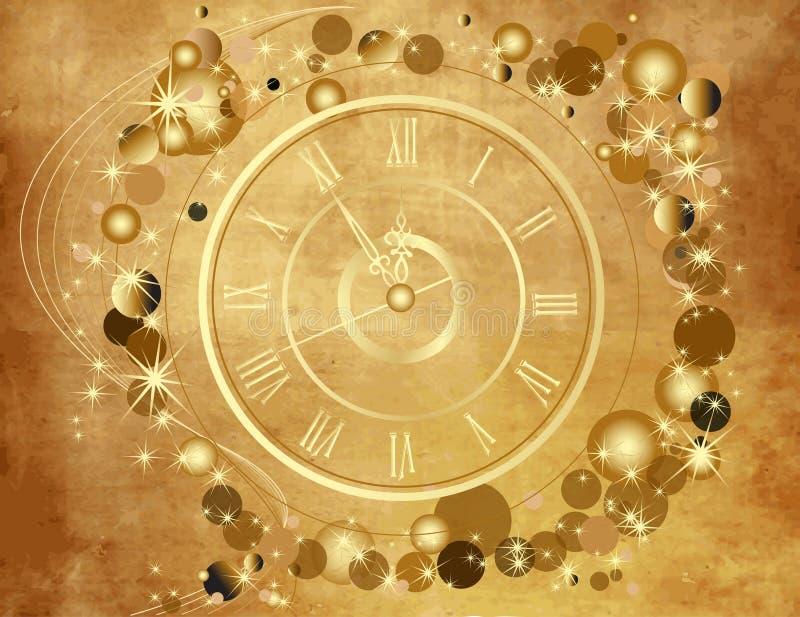 Złocisty Szczęśliwy nowego roku tło ilustracja wektor