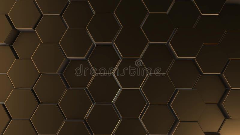 Złocisty sześciokąt geometrii tło 3d ilustracja proste praformy z sześć kątami w przodzie ilustracja wektor