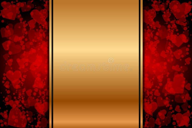 Download Złocisty Tło Z Czerwonymi Sercami Ilustracja Wektor - Ilustracja złożonej z data, abstrakt: 28952504