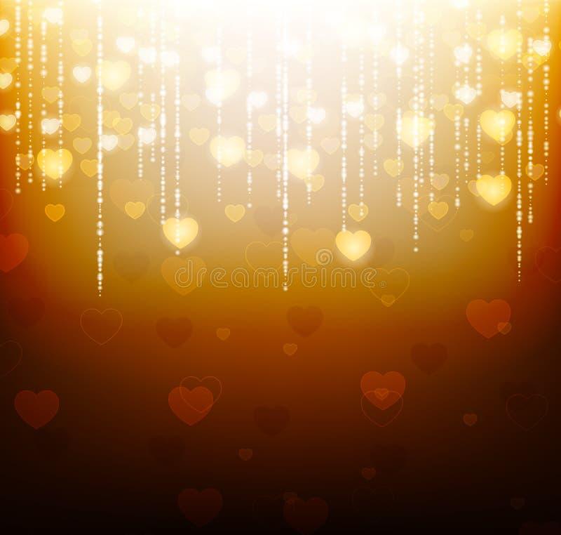 Złocisty tło z jaskrawymi sercami i błyska ilustracji