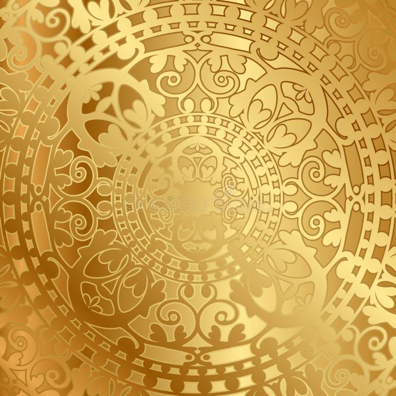 Złocisty tło z orientalną dekoracją ilustracja wektor