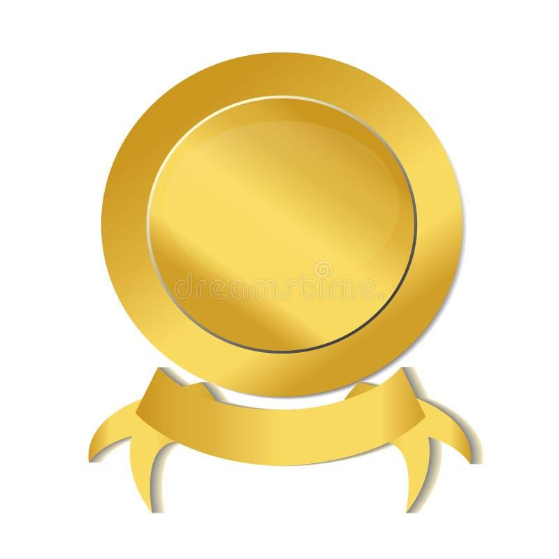 Złocisty tasiemkowy foki ikony loga wizerunku wektor royalty ilustracja