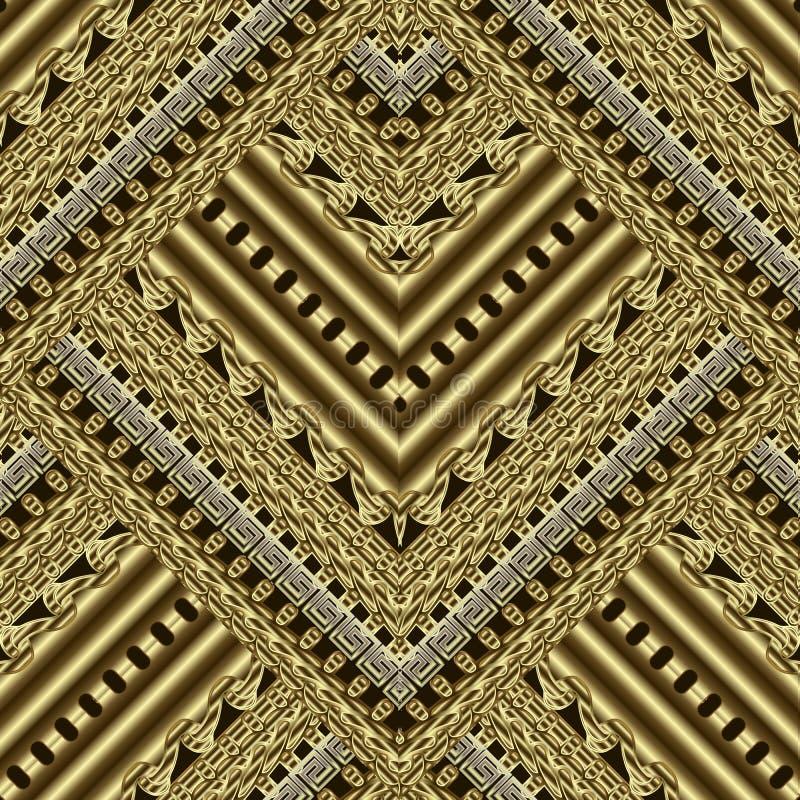 Złocisty textured ozdobny geometryczny 3d wektorowy bezszwowy wzór greeley royalty ilustracja