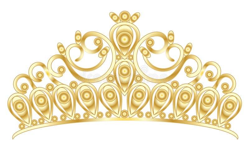 Złocisty tiary korony kobiet ślub z kamieniami ilustracja wektor