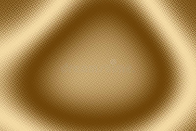 Złocisty tkanina wzór i rocznika tekstylny tło, złoty ornament ilustracji