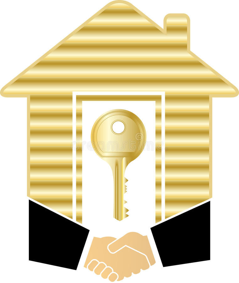 złocisty uścisk dłoni domu klucz royalty ilustracja