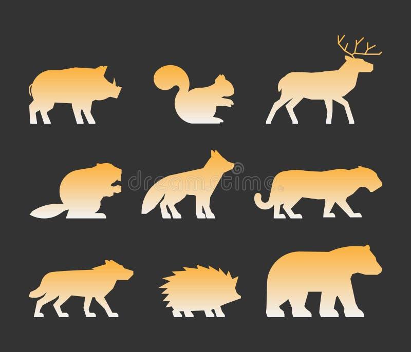 Złocisty ustawiający postacie dzikie zwierzęta ilustracji