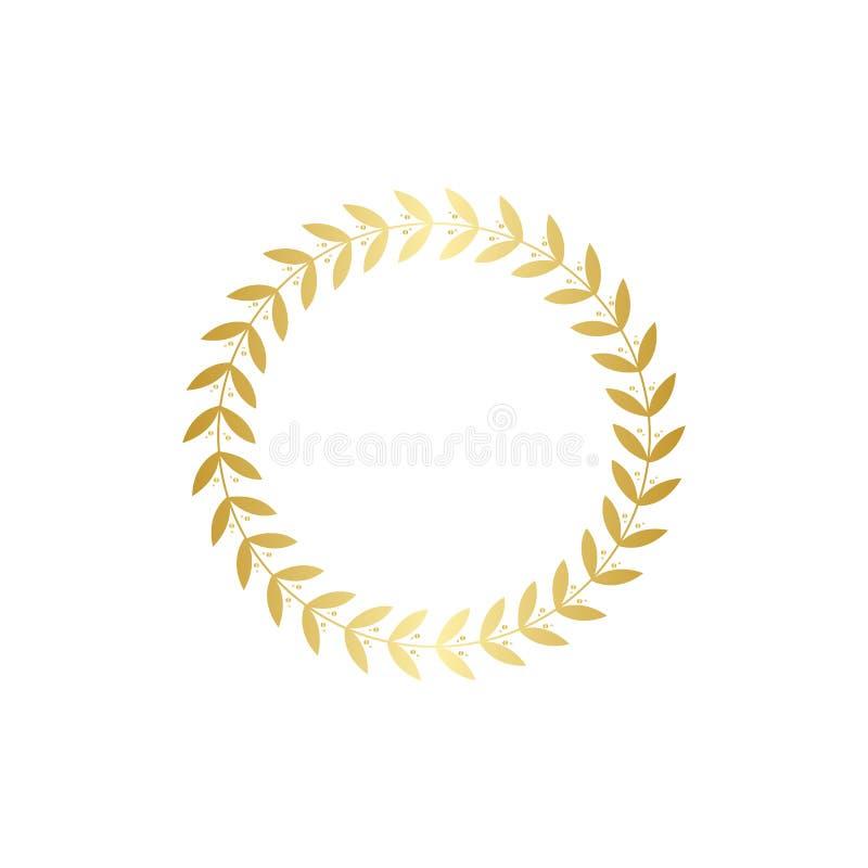 Złocisty wianek z liśćmi, złota liść gałąź dekoracja dla nagroda bobka lub trofeum rama, ilustracja wektor