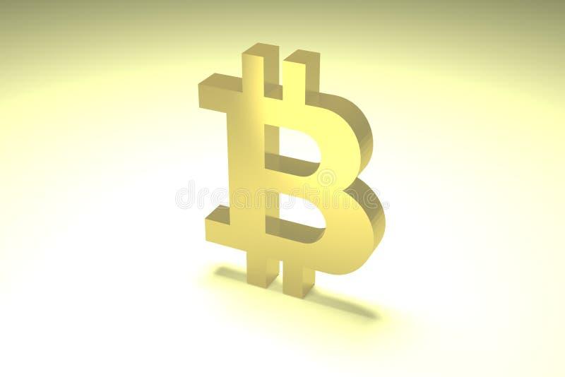 Złocisty wolumetryczny symbol cyfrowa crypto waluta, bitcoin iluminujący z jaskrawym światłem ilustracji
