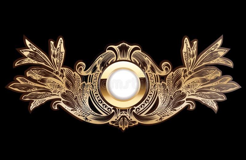 złocisty wysoki ozdobny pierścionek royalty ilustracja