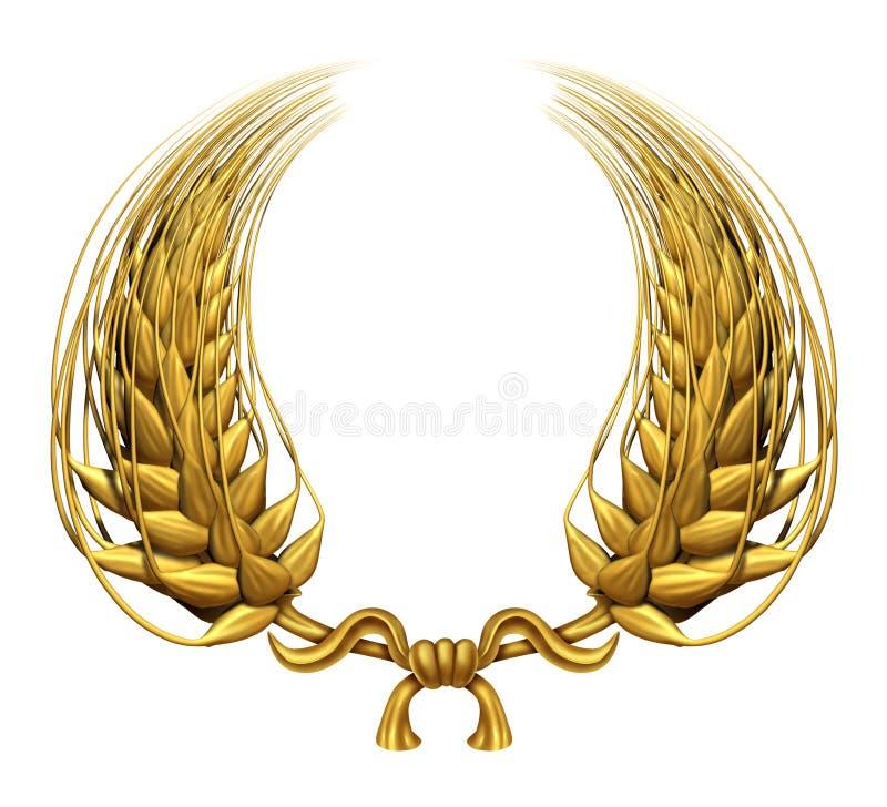 złocisty złoty laurowy pszeniczny wianek ilustracja wektor