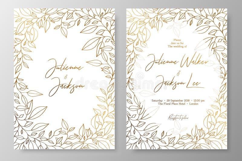 Złocisty zaproszenie z ramą liście Złoto grępluje szablony dla save data, poślubia zaprasza, kartka z pozdrowieniami, pocztówki,  royalty ilustracja