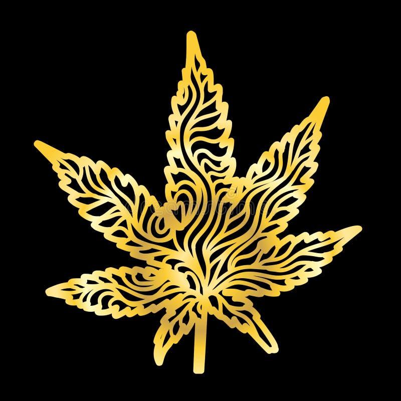 Złocisty Zen marihuany liść pociągany ręcznie zdjęcie royalty free