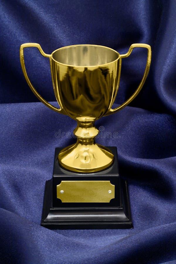 Złocisty zwycięzcy trofeum na jedwabniczym tle obrazy stock